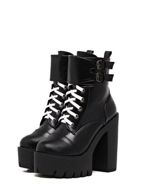 sale Buckle Straps High Heel Boots - BLACK 38 Mobile