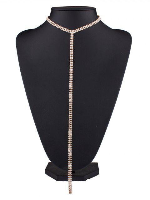 sale Alloy Long Rhinestoned Necklace - GOLDEN  Mobile