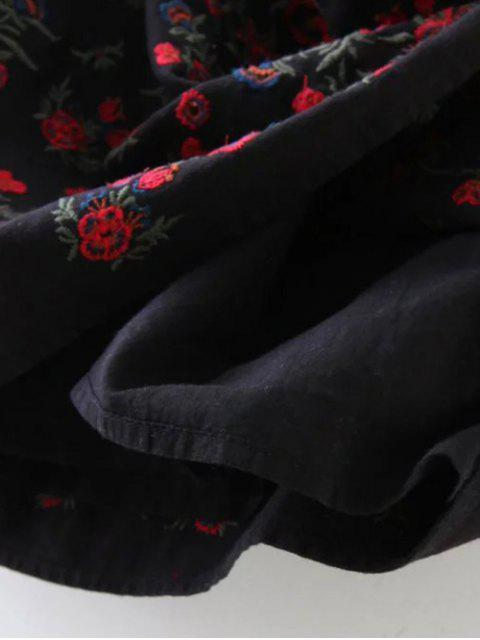 fancy Tiny Floral Embroidered Mini Skirt - BLACK L Mobile