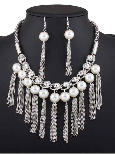 womens Chain Tassel Fake Pearl Necklace and Earrings - SILVER  Mobile