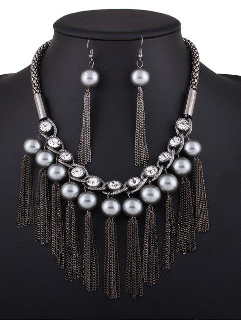 women Chain Tassel Fake Pearl Necklace and Earrings - BLACK  Mobile