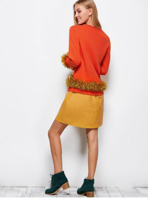 latest Christmas Bells Embellished Sweater - ORANGE RED 2XL Mobile
