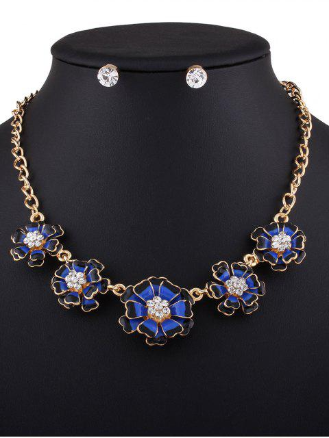 lady Rhinestoned Flower Necklace with Earrings - BLUE  Mobile
