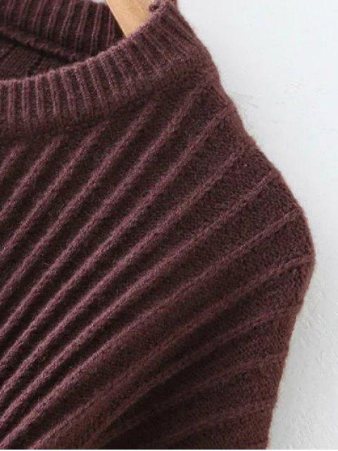 buy Metal Ring Ribbed Oversized Sweater - COFFEE ONE SIZE Mobile