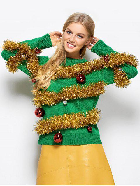 fancy Christmas Crew Neck Pullover Sweater - GREEN 2XL Mobile