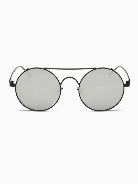 fashion Crossbar Mirrored Round Sunglasses - BLACK  Mobile