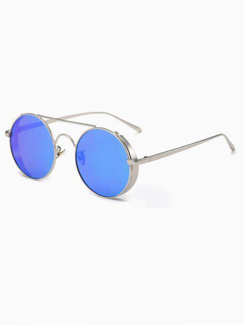 fancy Crossbar Mirrored Round Sunglasses - BLUE  Mobile