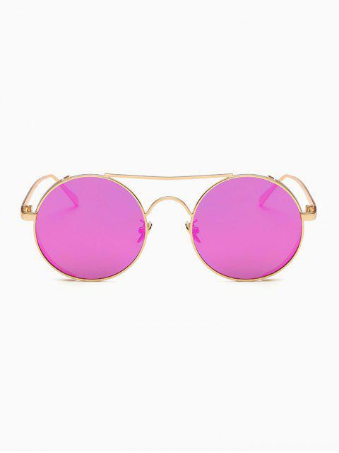 unique Crossbar Mirrored Round Sunglasses - PURPLE  Mobile