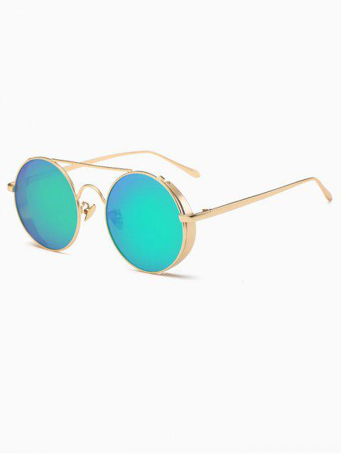 sale Crossbar Mirrored Round Sunglasses - GREEN  Mobile