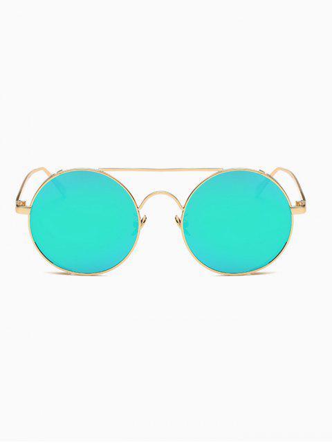 sale Crossbar Mirrored Round Sunglasses - GREEN  Mobile