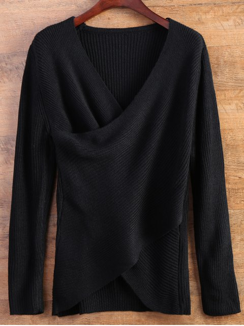 lady Wrap Ribbed Sweater - BLACK ONE SIZE Mobile