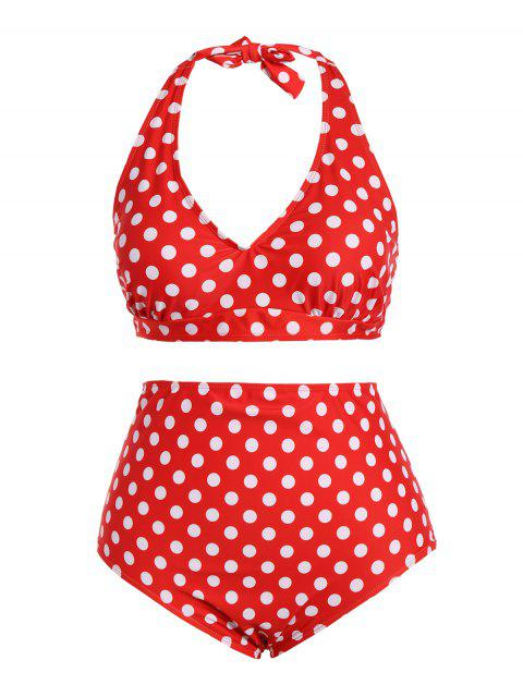 buy Polka Dot Halter Plus Size Vintage Bikini - RED XL Mobile