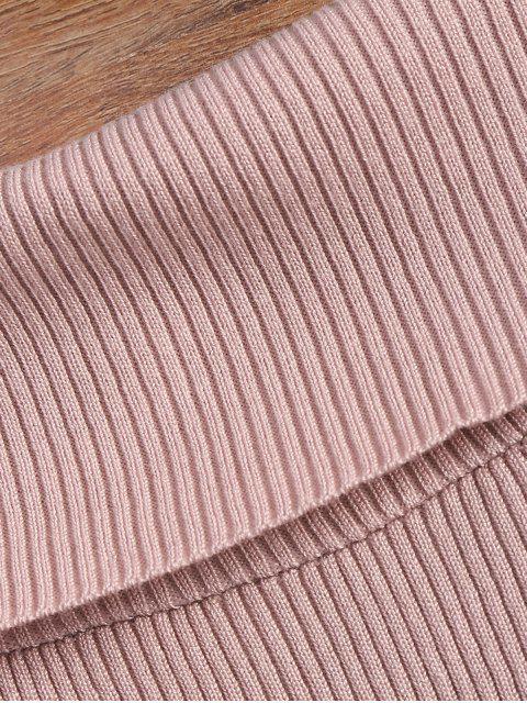 best Split Sleeve Off The Shoulder Sweater - PINK ONE SIZE Mobile