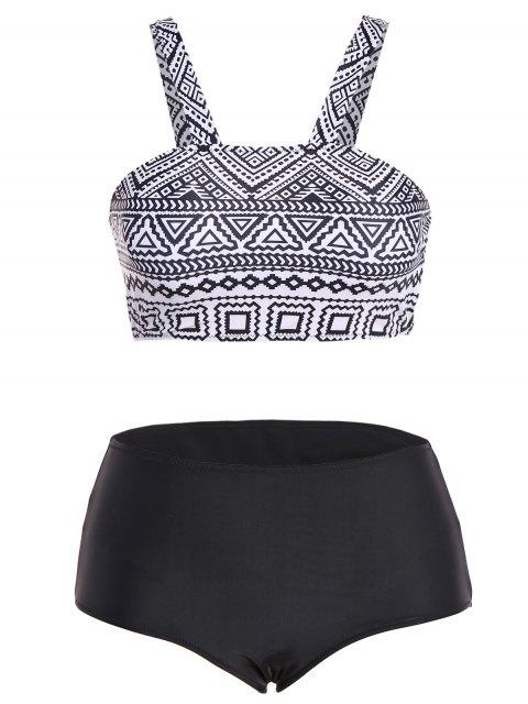 outfit Tribal Print Strap Bikini - BLACK S Mobile