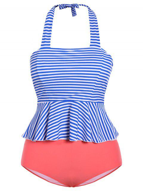 trendy Halter Stripes Plus Size Swimwear - STRIPE S Mobile