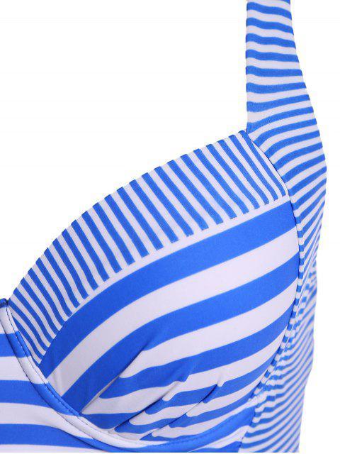 chic Stripes Underwire Plus Size Swimwear One Piece - STRIPE 3XL Mobile
