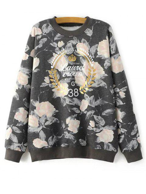ladies Floral Graphic Sweatshirt - FLORAL ONE SIZE Mobile