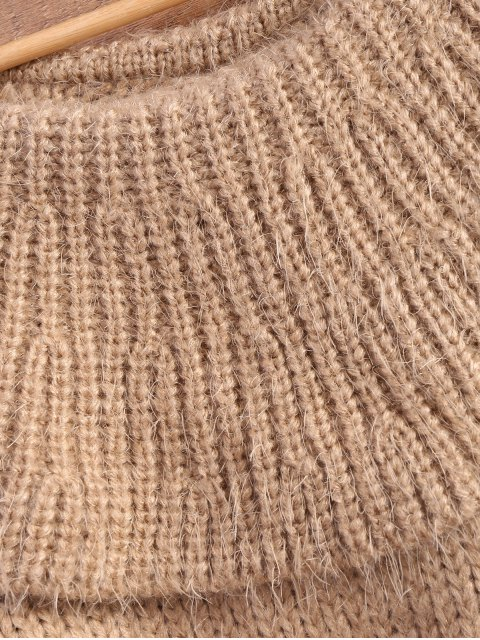 shops Flounced Fuzzy High-Low Sweater - CAMEL ONE SIZE Mobile