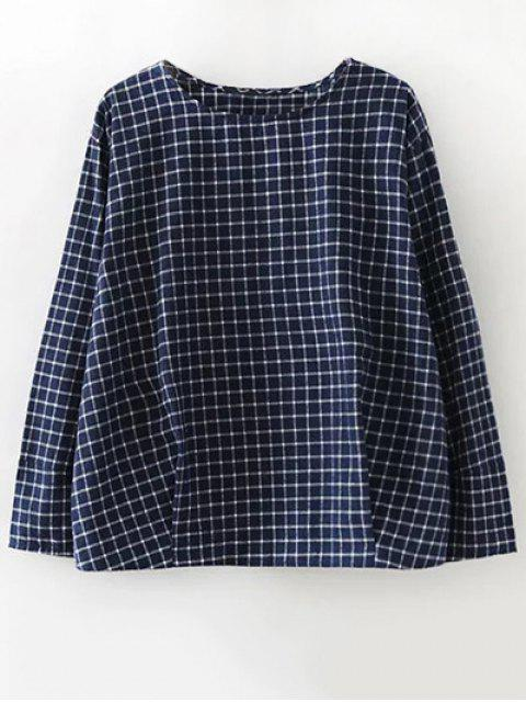 shops Plaid Letter Embroidered Blouse - PURPLISH BLUE L Mobile