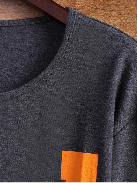 buy Letter Stripe T-Shirt - GRAY L Mobile