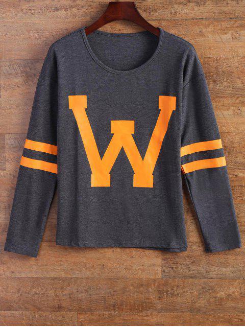 women Letter Stripe T-Shirt - GRAY S Mobile