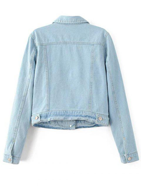 sale Patch Light Wash Denim Jacket - LIGHT BLUE M Mobile