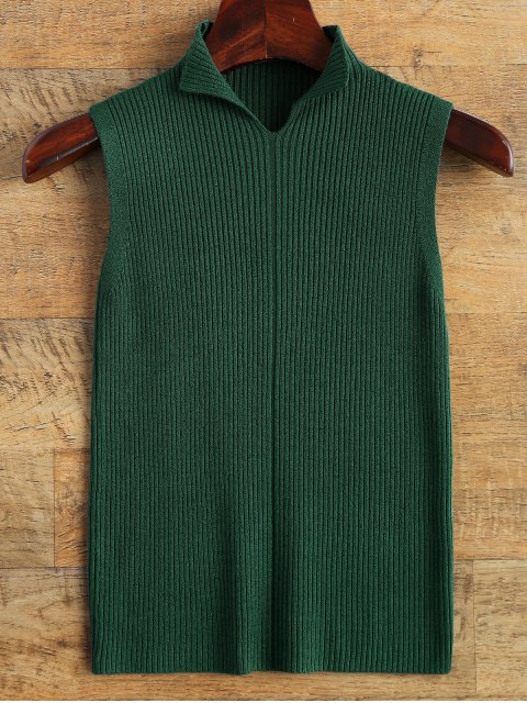 fashion High Neck Vest Ribbed Sweater - GREEN ONE SIZE Mobile
