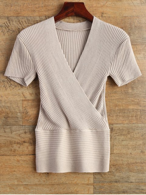lady Knitting Wrap T-Shirt - APRICOT ONE SIZE Mobile