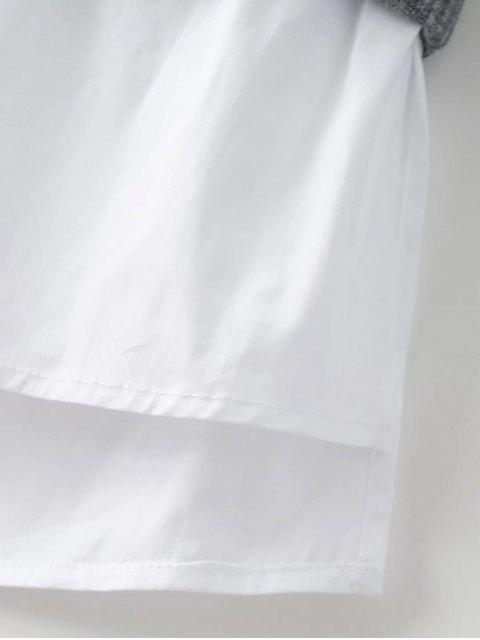 women's Raglan Sleeves Shirt Neck Panel Jumper - BURGUNDY M Mobile