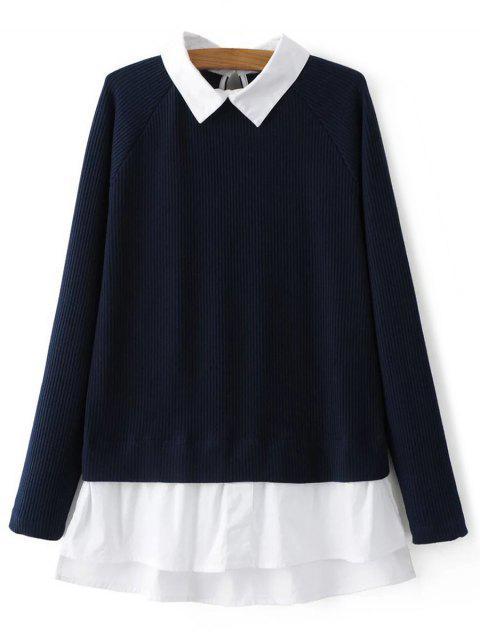best Raglan Sleeves Shirt Neck Panel Jumper - PURPLISH BLUE M Mobile