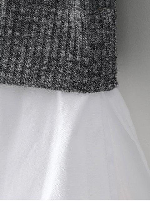online Raglan Sleeves Shirt Neck Panel Jumper - PURPLISH BLUE S Mobile