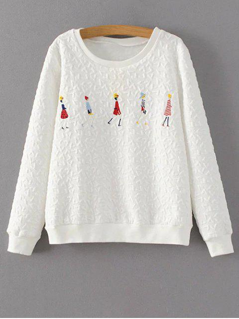 lady Cartoon Figure Print Sweatshirt - WHITE L Mobile