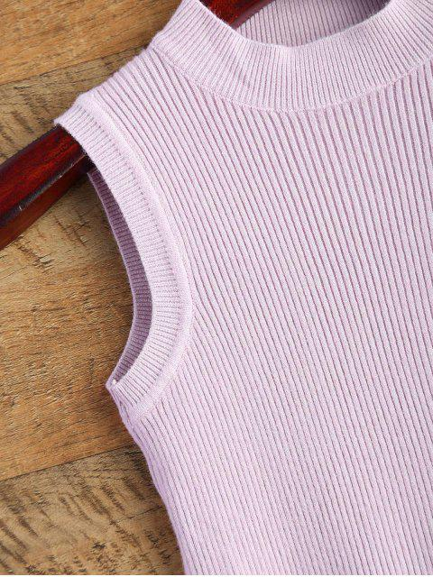 sale Sleeveless Ribbed Sweater - LIGHT PURPLE ONE SIZE Mobile