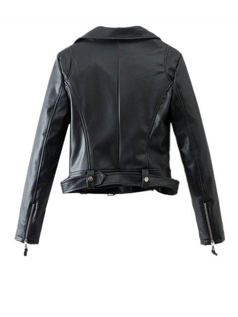 buy Lapel Collar Fitted Biker Jacket - BLACK L Mobile