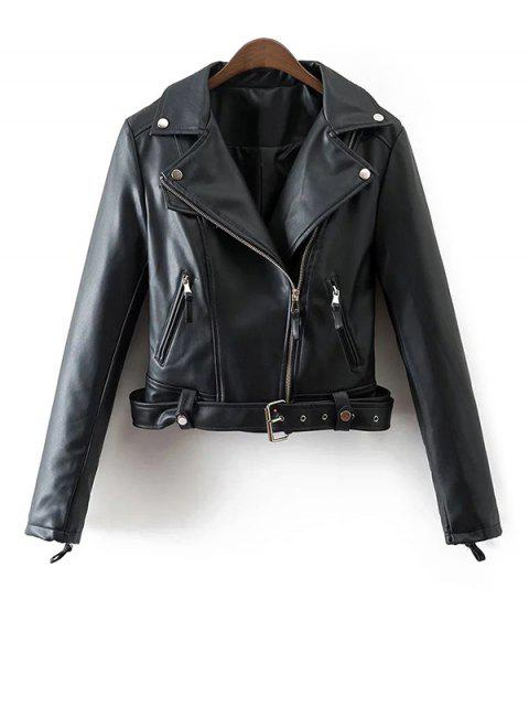 womens Lapel Collar Fitted Biker Jacket - BLACK M Mobile