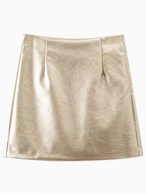 fashion Metal Colour PU Leather Mini Skirt - GOLDEN M Mobile