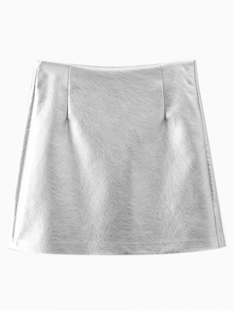 unique Metal Colour PU Leather Mini Skirt - SILVER M Mobile