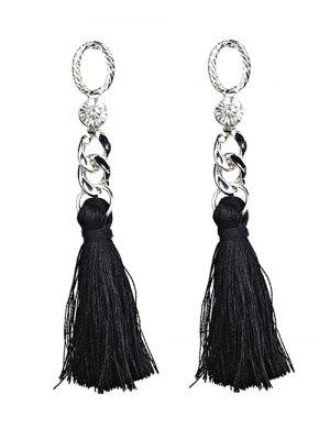 Rhinestone Tassel Dangle Earrings - Black