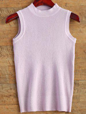 Sleeveless Ribbed Sweater - Light Purple