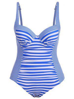 Stripes Underwire Plus Size Swimwear One Piece - Stripe 2xl
