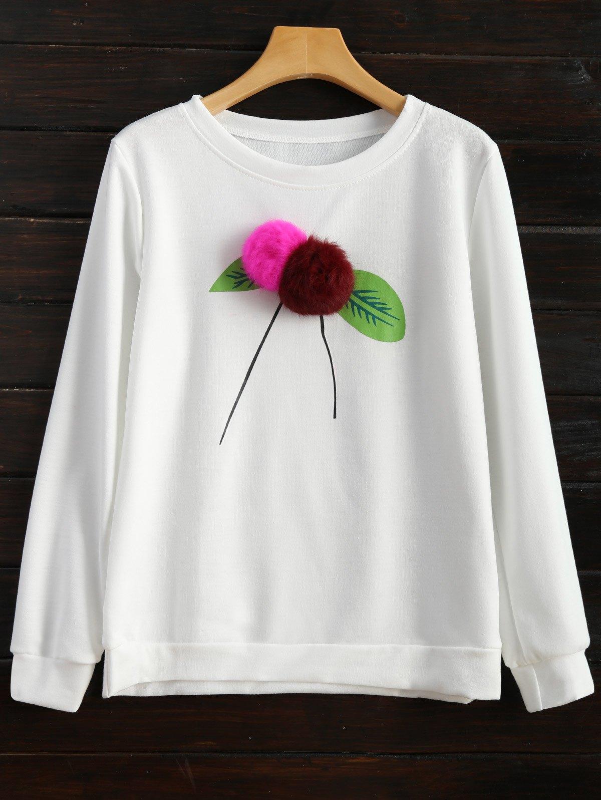 Pom Sweatshirt - WHITE L