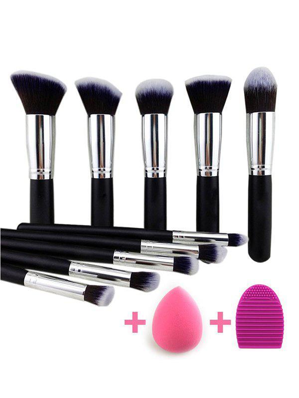 10 Pcs Makeup Brushes Set + Makeup Sponge + Brush Egg