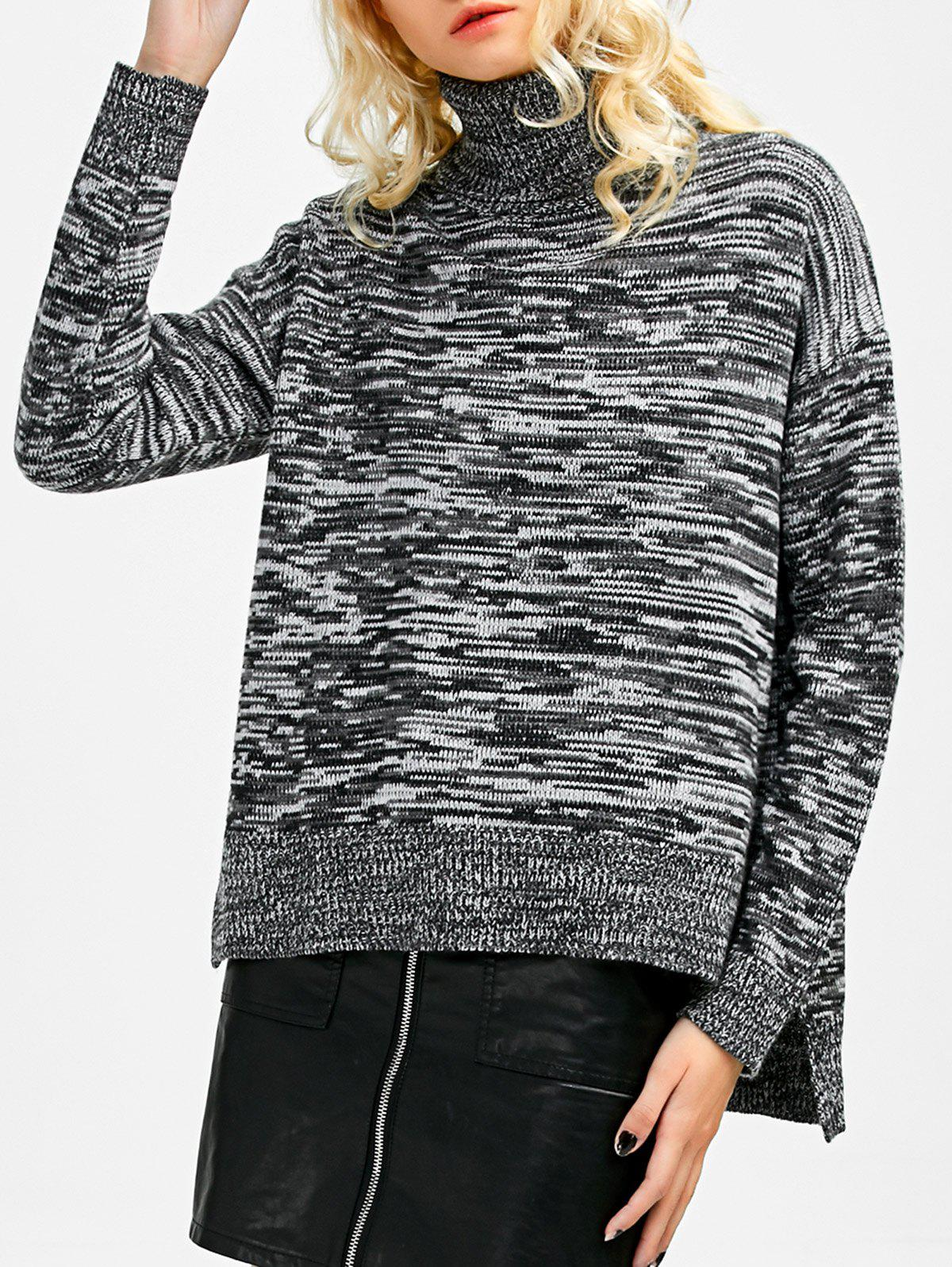 Boxy Heathered Turtleneck Sweater