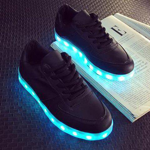 Lace-Up Led Luminous PU Cuir Chaussures