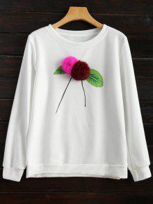 Pom Pom Sweatshirt - White S