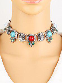 Rhinestone Faux Turquoise Necklace - Silver