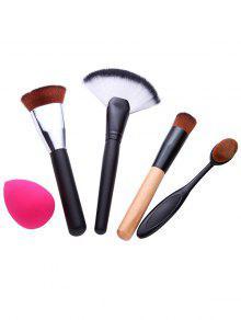 4 Pcs Makeup Brushes Set And Makeup Sponge - Black