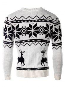 cb97189e5478a3 63% OFF  2019 Deer And Snowflake Pattern Christmas Sweater In WHITE ...