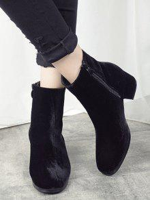 Round Toe Zip Chunky Heel Ankle Boots BLACK: Boots 39 | ZAFUL