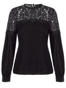 Lace Spliced Cut Out Blouse - Black 2xl